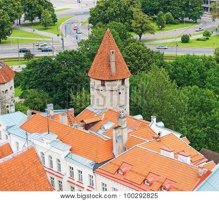 Old Tower In Medieval City. Tallinn, Estonia.