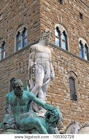 Florence Historical Fountain With The Statue Of Neptune