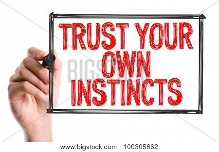 Hand with marker writing the word Trust Your Own Instincts