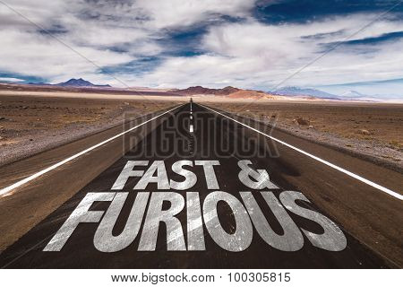Fast & Furious written on desert road