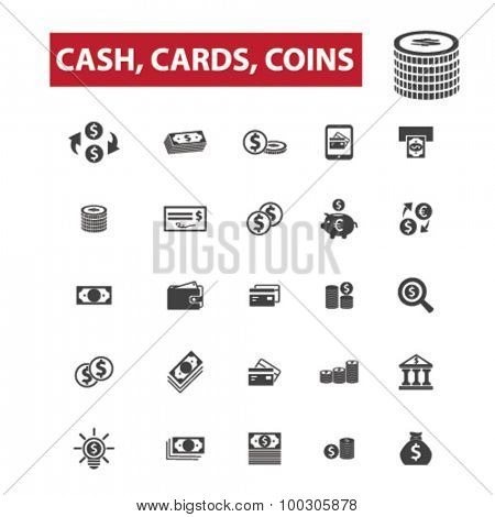 Cash, cards, coins concept icons: money,  cash register,  stack of cash,  dollar,  cash icon,  pile of cash,  dollar bill, credit card,  gift card,  bank,  visa,  stack of coins,  wealth. Vector