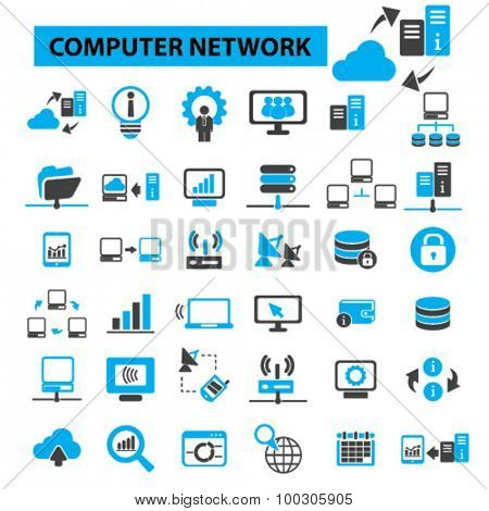 Computer network concept icons: cloud computing,  server,  server room,  data center,  server rack,  computer server, computer technology, system administration. Vector illustration