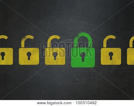 Safety concept: row of Painted yellow opened padlock icons around green closed padlock icon on School Board background poster