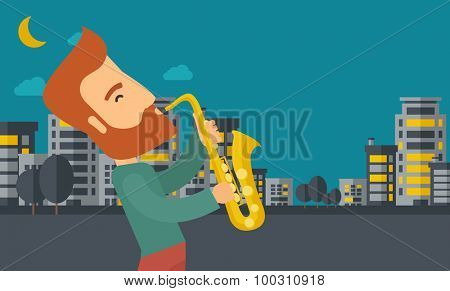 A caucasian saxophonist playing in the streets at night with moon and clouds. Vector flat design illustration. Horizontal layout.