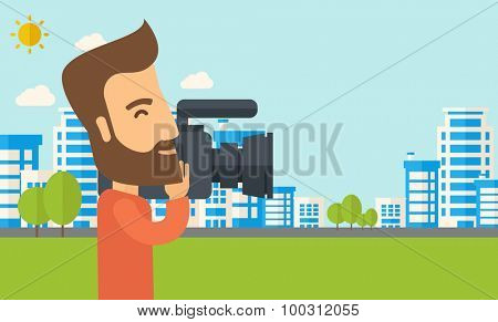 A hipster cameraman with video camera taking a video with thye buildings around. Vector flat design illustration. Horizontal layout.