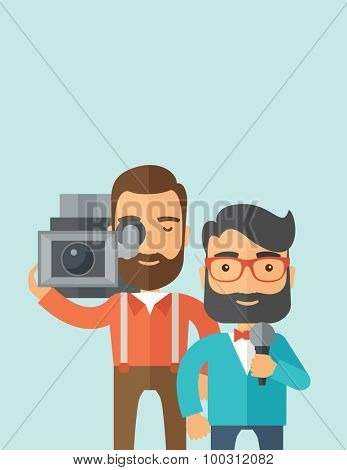 A professional caucasian journalist and news reporter with video camera and microphone broadcasting. A Contemporary style with pastel palette, soft blue tinted background. Vector flat design