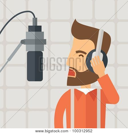 A caucasian radio DJ working in a radio station with headphone and microphone raising his voice. A Contemporary style with pastel palette, soft beige background. Vector flat design illustration