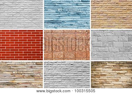 Wall Blick Set Cement And Stone Background Texture.