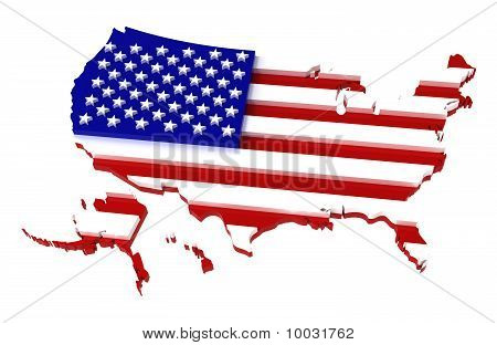USA, Map with Flag, Clipping Path Included, 3D