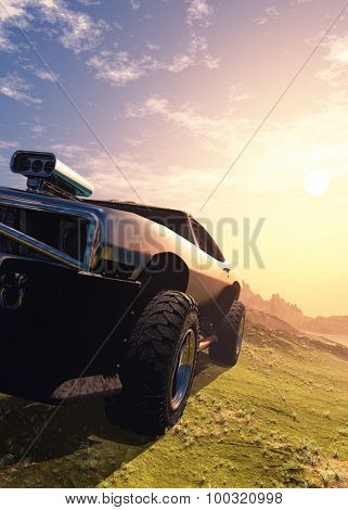 Sports car on the background of a mountain landscape.