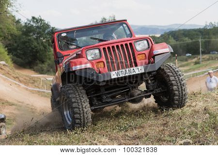 Closeup Front View Of A Red Off Road Car In Terrain