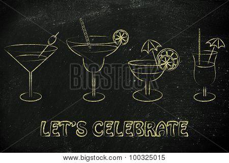 Let's Celebrate: Cocktails And Drink Glasses