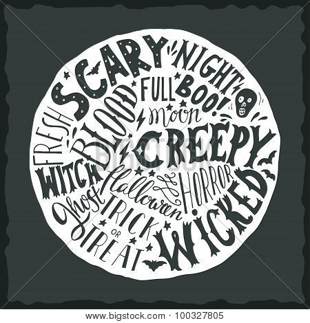 Halloween Hand Lettering On The Round Background With A Grunge Texture