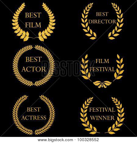 Film awards. Golden round laurel wreaths