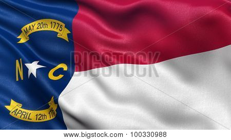 US state flag of North Carolina with great detail waving in the wind.