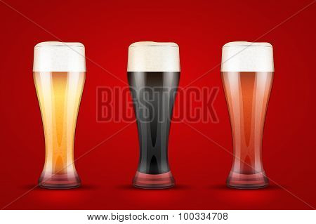Beer glass with three brands.