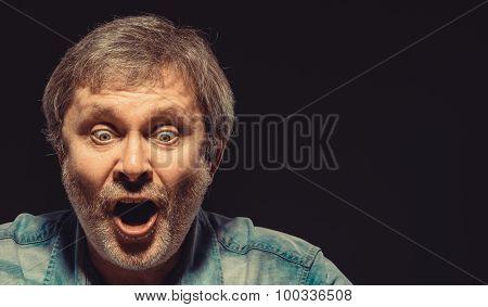 The screaming man in denim shirt