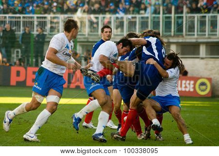 Rome, Italy - February 3 2007. Rugby Six Nations Cup Italy-france. Players In Action