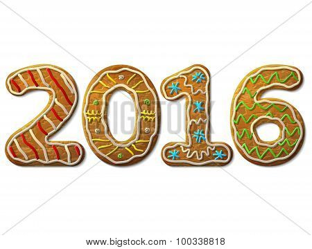 New Year 2016 In Shape Of Gingerbread Isolated On White Background