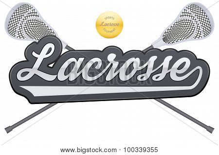 Lacrosse tag with ball and sticks.