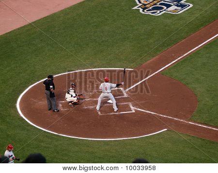 Philadelphia Phillies Ryan Howard Holds Bat In The Air In The Batters Box