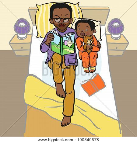 Funny Cartoon Father Reading Book For His Child. Vector Illustration