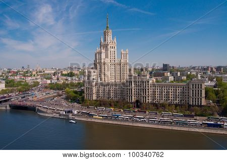 River and Kotelnicheskaya Embankment Building is one of seven stalinist skyscrapers poster