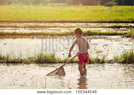 Young Agriculturist Finding For Fish