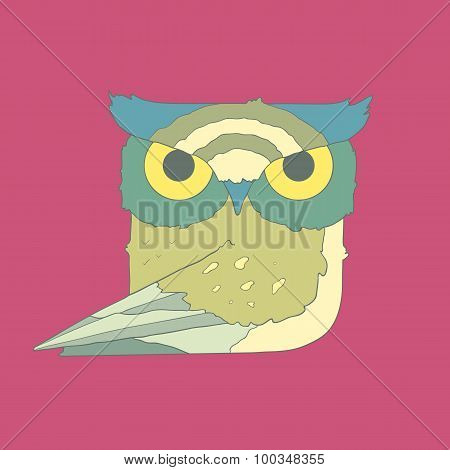 Hand drawn flat square icon owl isolated on purple background