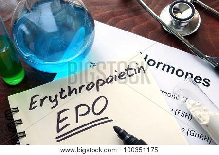 Hormone erythropoietin written on notebook.
