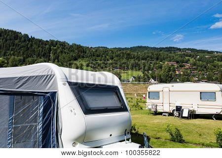Modern Caravan At Camping Site