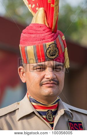 Portrait Indian Frontier Guard At The Indian - Pakistani Border During The Border Closing Ceremony.