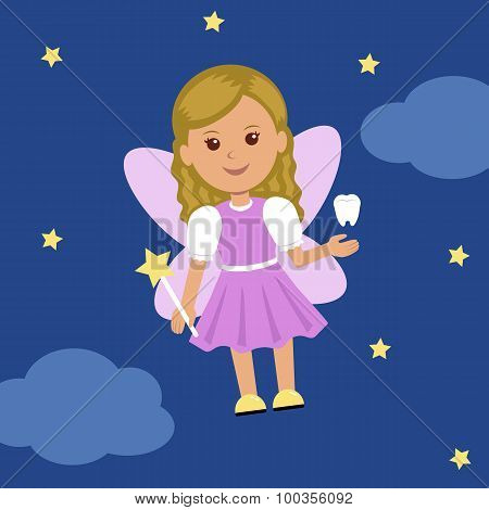 Cute Tooth Fairy in a dress with wings and a magic wand