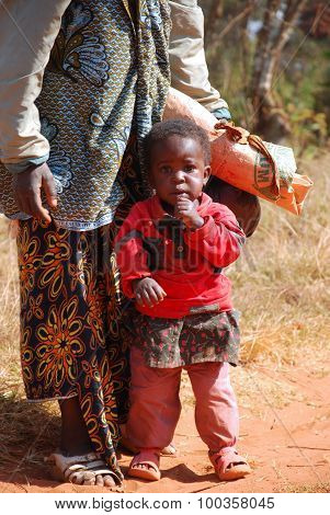 An African Woman With Her Children 08