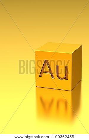 Golden cube with Au sign, metal background