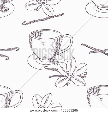 Hand Drawn Coffee Cup With Vanilla Seamless Pattern. Outline Background