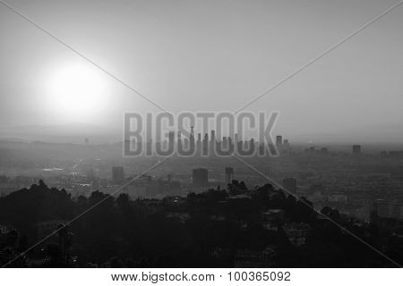 LOS ANGELES, CALIFORNIA, USA - January 1, 2015:  Smoggy morning in Hollywood and Downtown Los Angeles in black and white.