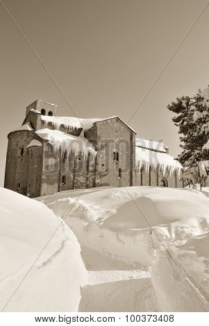 Old Minster Isolated By The Snow