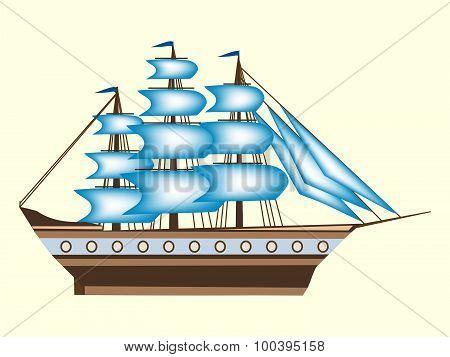 Sailing color ship frigate retro transport sea