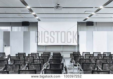 Conference Room Business Meeting Seminar with Seats and Blank Mock Up White Board