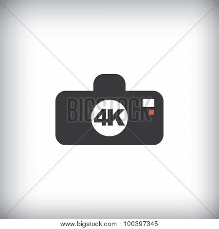 4k ultra hd camera icon isolated on background