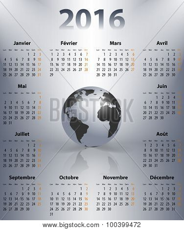 French Business Calendar For 2016 Year