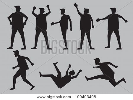 Human Gestures Silhouettes Vector Illustration