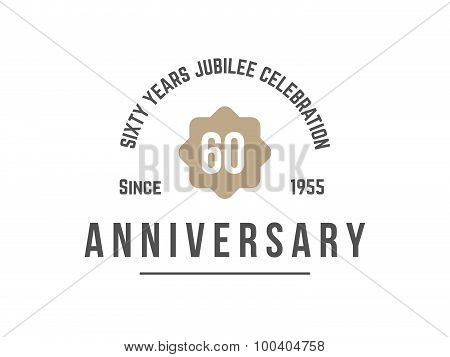 Sixty years anniversary celebration logotype. 60th anniversary logo. Vector illustration. poster
