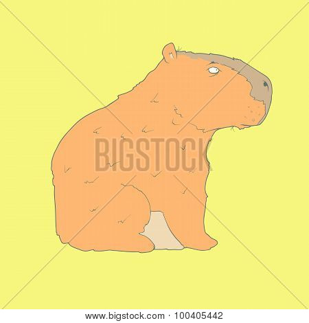 Flat hand drawn icon of a cute capybara
