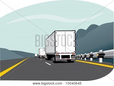 Three Trailer Trucks