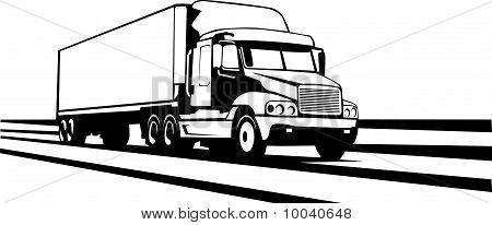 Trailer Truck Along The Interstate
