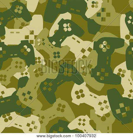 Military Texture From Gaming Joysticks. Army Seamless Pattern Gamepad. Vector Protective Camouflage
