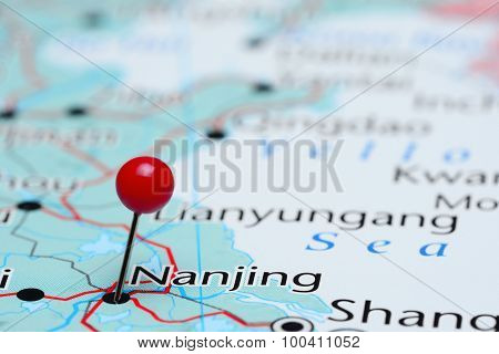 Nanjing pinned on a map of Asia