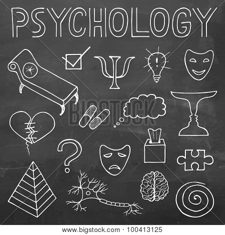 Psychology Hand Drawn Doodle Set And Typography On Chalkboard Background